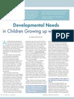 Developmental Needs in Children Growing up with Autism