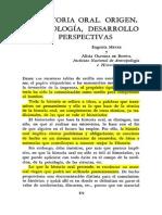 1160 - Meyer Eugenia y Alicia Olivera de Bonfil - La historia oral Origen metodología desarrollo y perspectivas