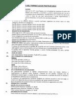 Bases Torneo de Ajedrez Louis Pasteur 2013