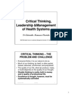 Critical Thinking, Leadership & Management of Health Systems