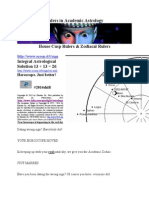 House & Zodiacal Rulers in Academic Astrology