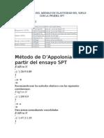 Correlacion Del Modulo de Elasticidad Del Suelo Con La Prueba Spt