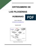 Incertidumbre de Las Filogenias Humanas