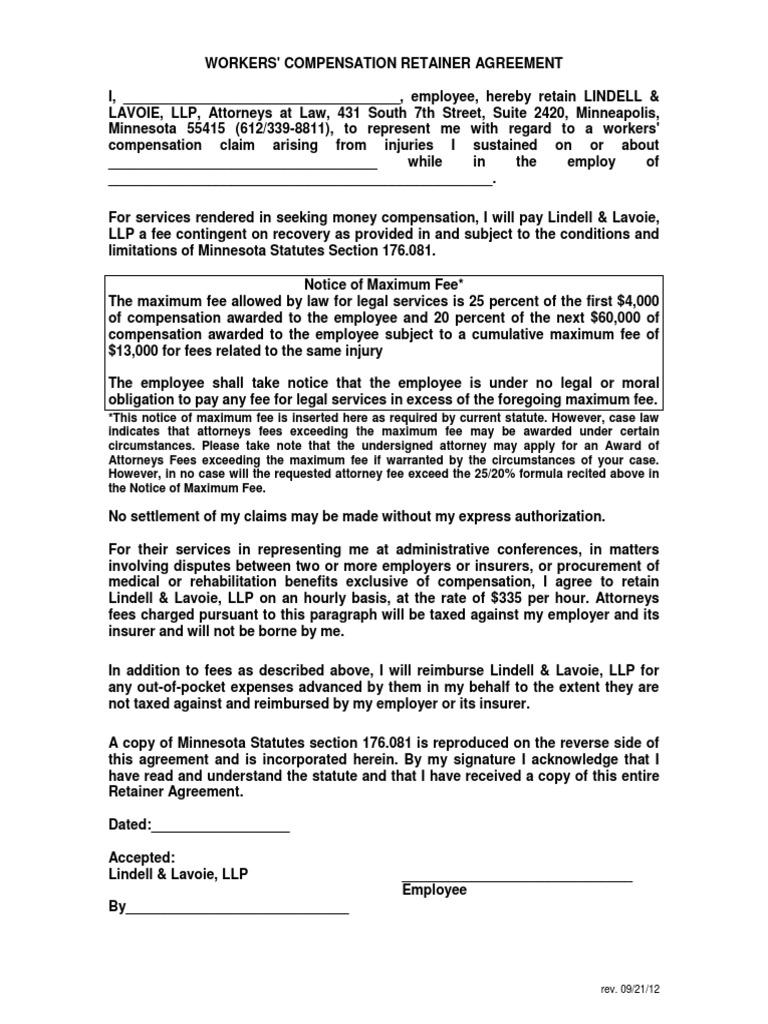 Workmen Compensation Retainer Form Workers Compensation
