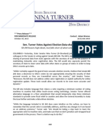 PRESS RELEASE - Turner Votes Against Election Data-sharing Bill - 10 20 13