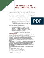 Estudio de Sistemas de Ecuaciones Lineales