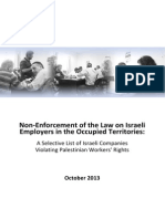 Non-Enforcement of the Law on Israeli Employers in the Occupied Territories