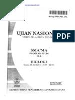 Naskah Soal UN Biologi SMA 2013 Paket 1 (Edited Final)