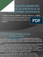 Politica monetar-creditară şi specificul ei în economia naţională