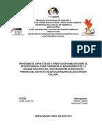 PROGRAMA DE CAPACITACIÓN Y ORIENTACIÓN FAMILIAR SOBRE EL RETARDO MENTAL PARA CONTRIBUIR AL MEJORAMIENTO DE LA CALIDAD EDUCATIVA