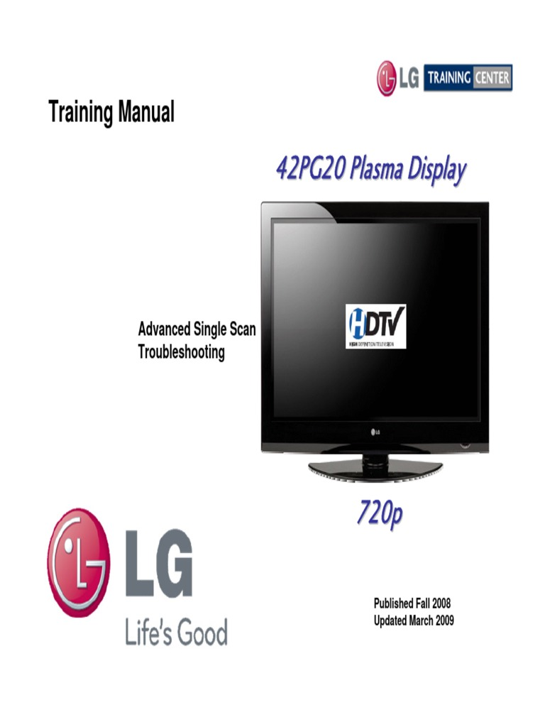Lg 42pg20 Training Manualpdf Power Supply High Definition Mean On Can39t Read Any Voltage Using A Dvm The Plug Television