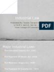 Indian Industrial Law - 4 Major Laws - Industrial Dispute Act, Payment Of Wages Act, Minimum WagesAct, Gratuity Act.