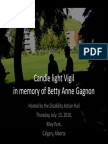 Candle light Vigil for Betty Anne Gagnon