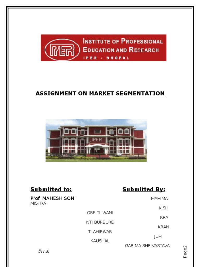 market segmentation assignment