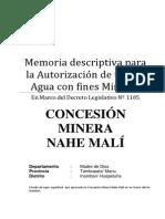 Memoria descriptiva para la Autorización de uso de Agua con fines Mineros