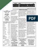 Shabbat Announcements, August 8, 2009
