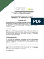 Edital de Monitoria No1 2013