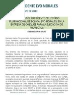DISCURSO DEL PRESIDENTE EVO MORALES, EN LA ENTREGA DE CHEQUES PARA LA EJECUCIÓN DE PROYECTOS