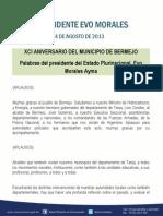 Discurso Del Presidente en El Xci Aniversario Del Municipio de Bermejo 24.08.2013