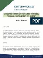 """DISCURSO DEL PRESIDENTE EN LA ENTREGA DE COLISEO IGNACIO WARNES, DENTRO DEL PROGRAMA """"BOLIVIA CAMBIA, EVO CUMPLE"""" 22.08.2013"""