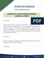 Discurso Del Presidente Evo Morales, En La Entrega de Coliseo Cerrado en Marka Lagunillas, Oruro26.10.2013