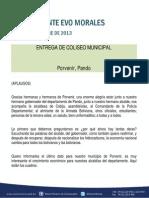 Discurso Del Presidente Morales en La Entrega de Coliseo Municipal de Porvenir, Pando 10.10.2013