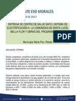 DISCURSO DEL PRESIDENTE MORALES EN LA ENTREGA DE CENTRO DE SALUD SAFCI, SISTEMA DE ELECTRIFICACIÓN A  LA COMUNIDAD DE SANTA LUCÍA, BELLA FLOR Y OBRAS DEL PROGRAMA MI AGUA 10.10.2013
