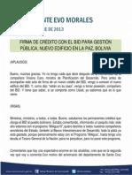 DISCURSO DEL PRESIDENTE MORALES EN LA FIRMA DE CRÉDITO CON EL BID PARA GESTIÓN PÚBLICA, NUEVO EDIFICIO EN LA PAZ, BOLIVIA 07.10.2013