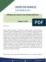 Discurso del Presidente Morales en la entrega de cancha con césped sintético Guaqui, La Paz 06.10.2013