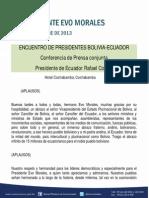 Conferencia de Prensa Conjunta en El Encuentro de Presidentes de Bolivia y Ecuador Presidente de Ecuador Rafael Correa, Cochabamba 03.10.13