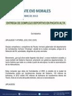 Discurso Del Presidente Morales en La Entrega de Complejo Deportivo en Pacata Alta 30-09-13