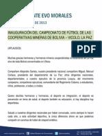 DISCURSO DEL PRESIDENTE MORALES EN LA INAUGURACIÓN DEL CAMPEONATO DE FÚTBOL DE LAS COOPERATIVAS MINERAS DE BOLIVIA – VICOLO, LA PAZ 28.09.2013