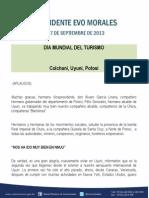 DISCURSO DEL PRESIDENTE MORALES EN EL DÍA MUNDIAL DEL TURISMO 27.09.2013