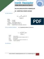 kullanılan formüller