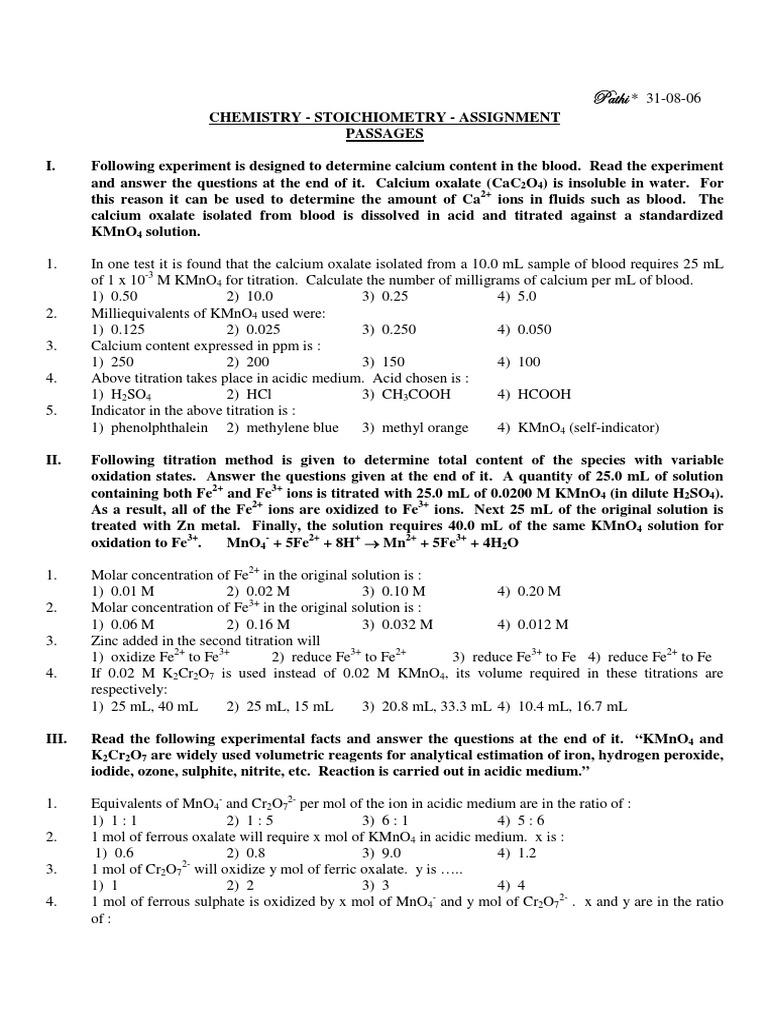 Microsoft Word  Stoichiometryassignment  1pdf  Titration  Chromium
