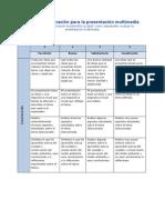 matriz de valoracin para la presentacin multimedia