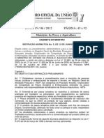 Instrução Normativa Nº 5, de 13 de junho de 2012