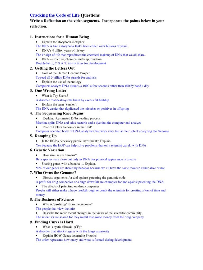 Worksheet Cracking The Code Of Life Worksheet Answers Carlos Lomas