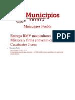 31-10-2013 Municipios Puebla - Entrega RMV Motocultores en La Mixteca y Firma Convenio Con Cacahuates Jicem