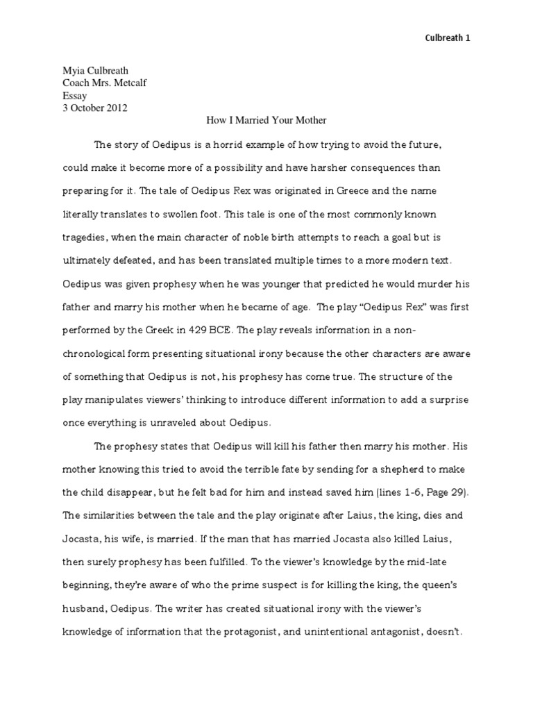 oedipus the king essay on fate
