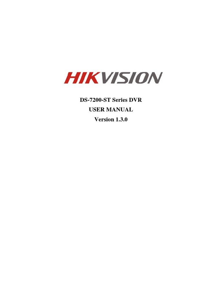 DS-7200-ST DVR (V1 3 0) HIKVision User Manual of Baseline 20120401