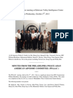 MINUTES FROM THE PHILADELPHIA POLICE ASIAN AMERICAN ADVISORY COMMITTEE (PPAAAC) - Held October 2, 2013 at the Delaware Valley Intelligence Center