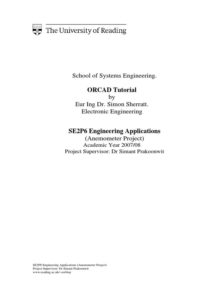 School of systems engineering orcad tutorial by eur ing dr school of systems engineering orcad tutorial by eur ing dr electronic engineering electrical engineering biocorpaavc Choice Image