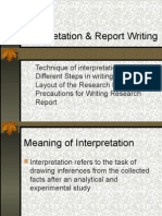 Interpretation & Report Writing