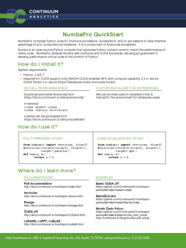 Numbapro Quickstart: How Do I Install It?