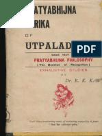 Pratyabhijna Karika of Utpaladeva I - R.K. Kaw