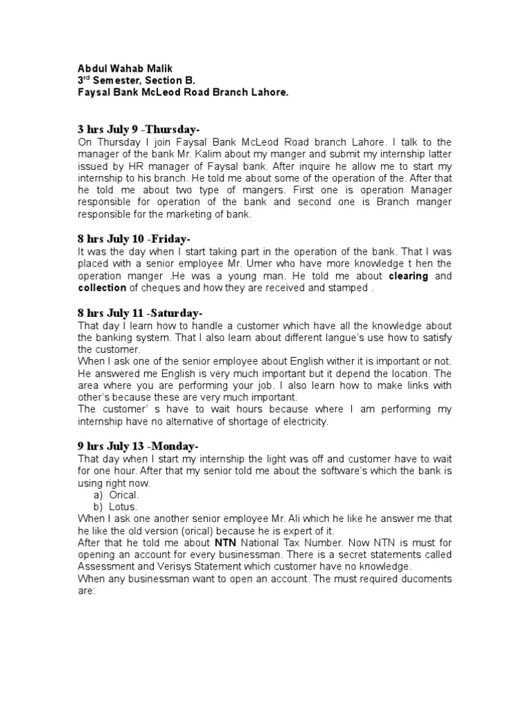 Internship Weekly Report | Transaction Account | Banks