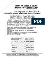 Calculation of the Speed of Sound in Air and the effective Temperature