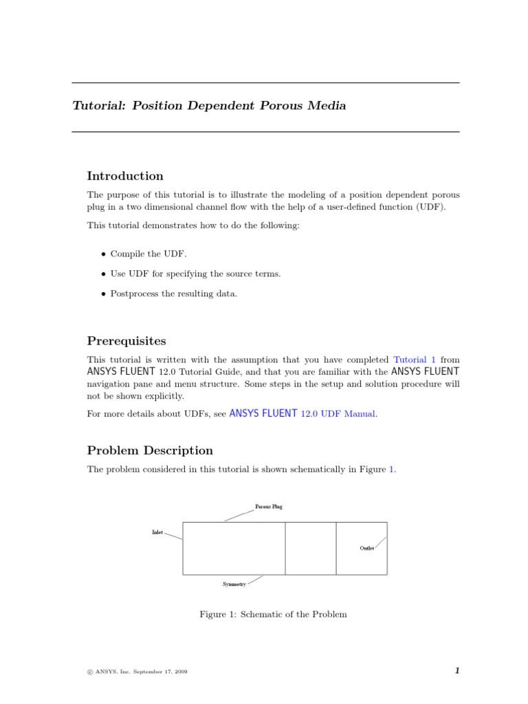 01 ANSYS FLUENT Tutorial - Position Dependent Porous Media