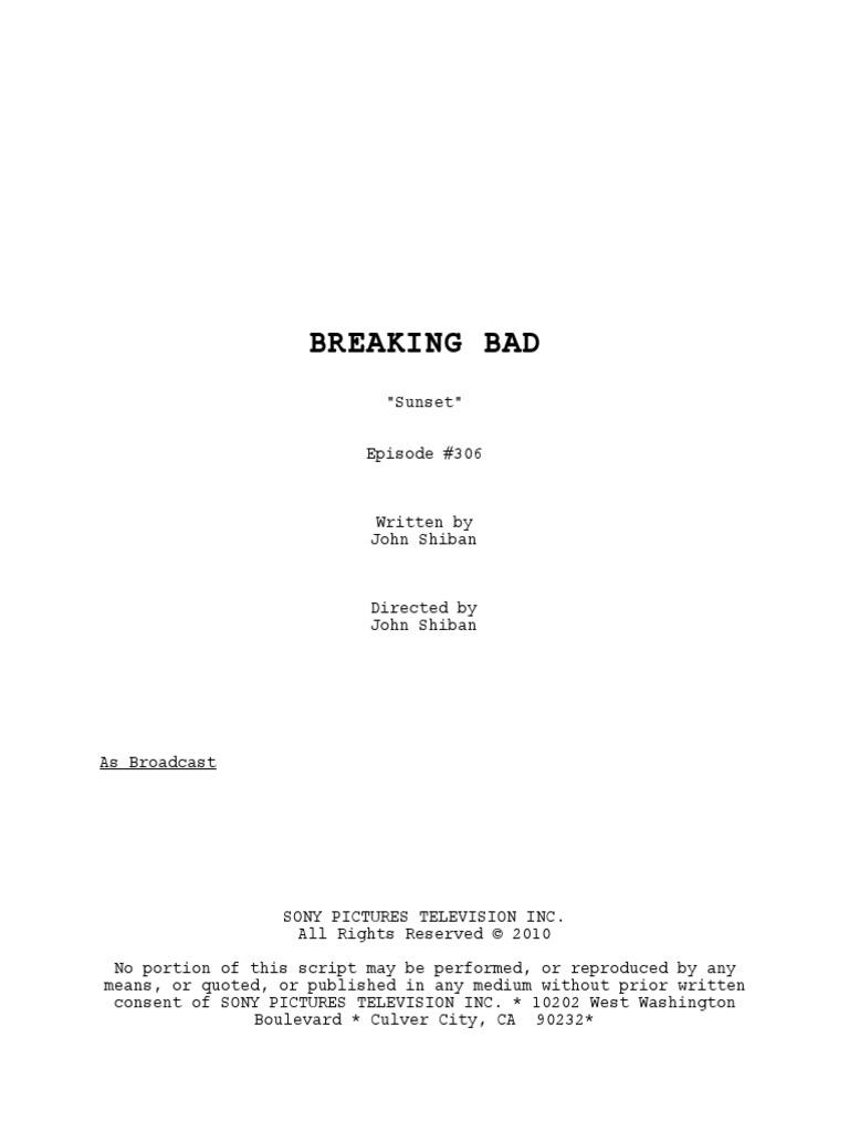 Script for Breaking Bad Season 3 Episode 6: Sunset  | Nature